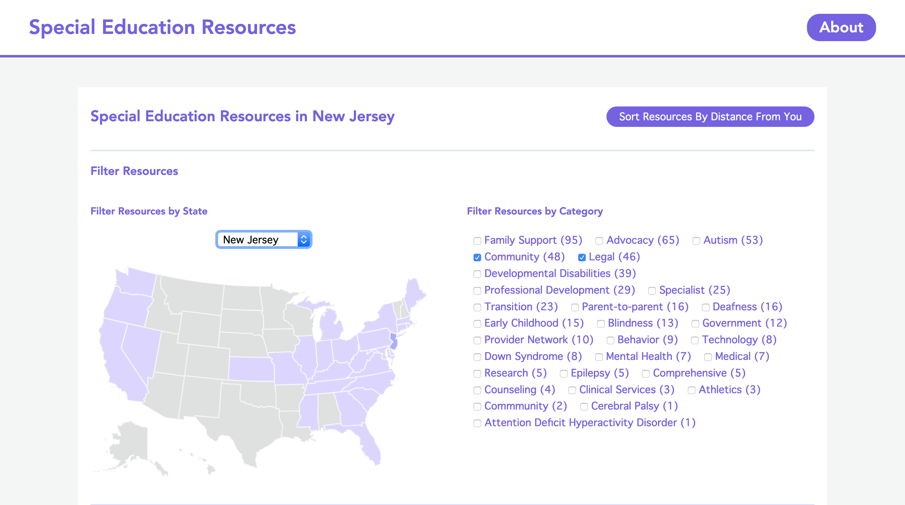 special education resources screenshot